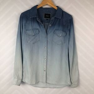 Rails Ombre Denim Chambray Snap Button Top Size S